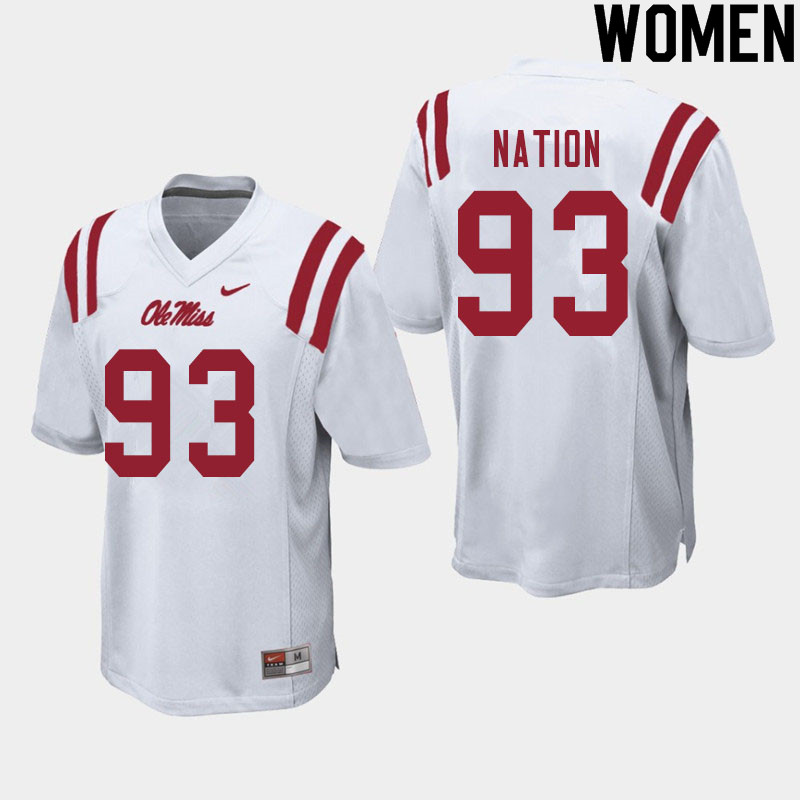 Women #93 Cale Nation Ole Miss Rebels College Football Jerseys Sale-White