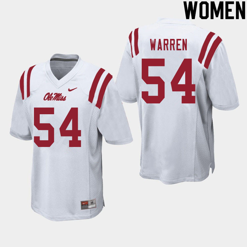 Women #54 Caleb Warren Ole Miss Rebels College Football Jerseys Sale-White