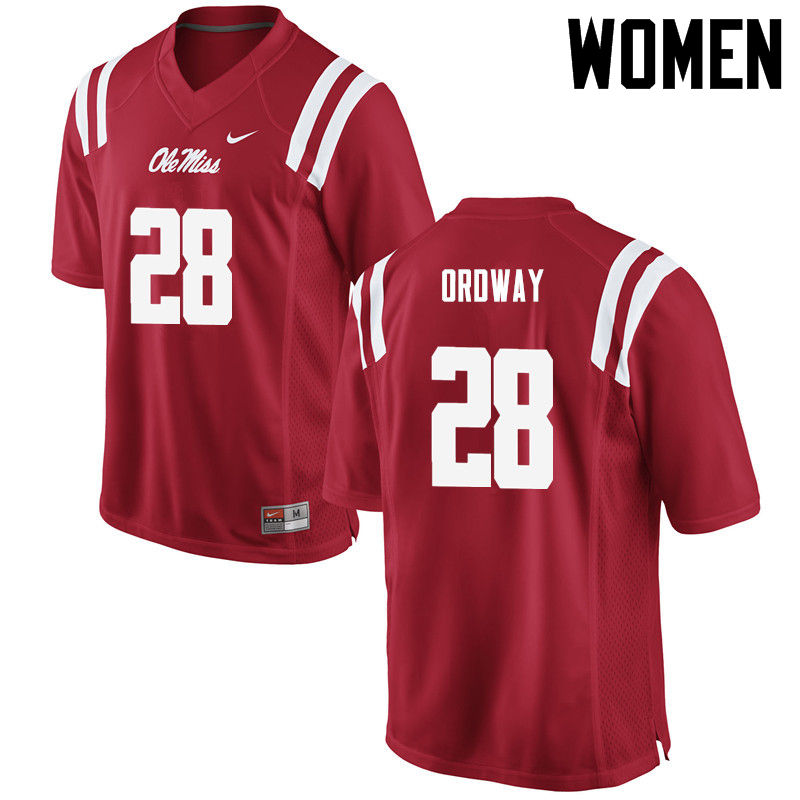 Women Ole Miss Rebels #28 Cam Ordway College Football Jerseys-Red