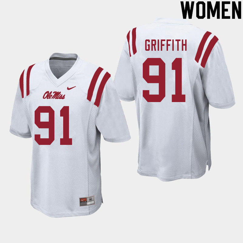 Women #91 Casey Griffith Ole Miss Rebels College Football Jerseys Sale-White