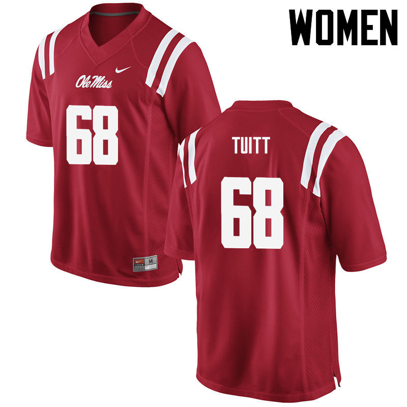 Women Ole Miss Rebels #68 Chandler Tuitt College Football Jerseys-Red