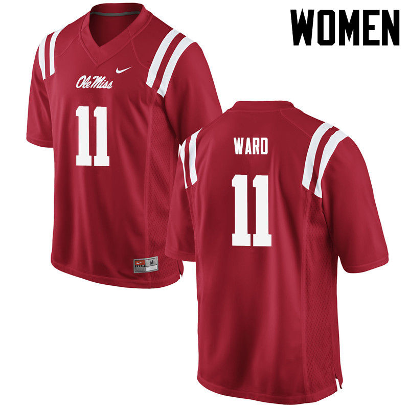 Women Ole Miss Rebels #11 Channing Ward College Football Jerseys-Red