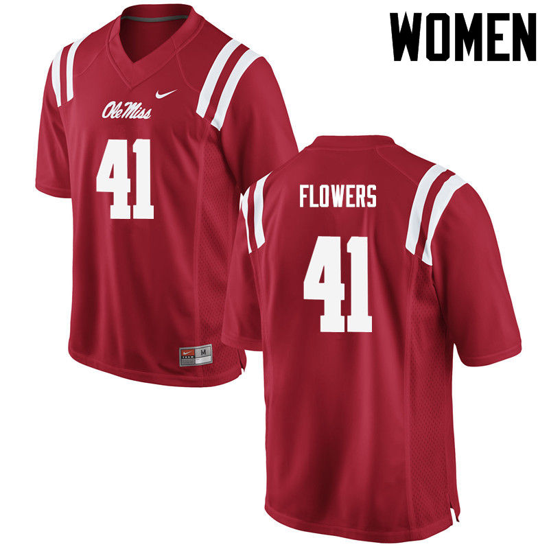 Women Ole Miss Rebels #41 Charlie Flowers College Football Jerseys-Red