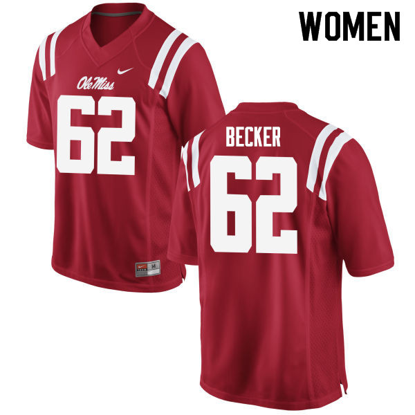 Women #62 Cole Becker Ole Miss Rebels College Football Jerseys Sale-Red
