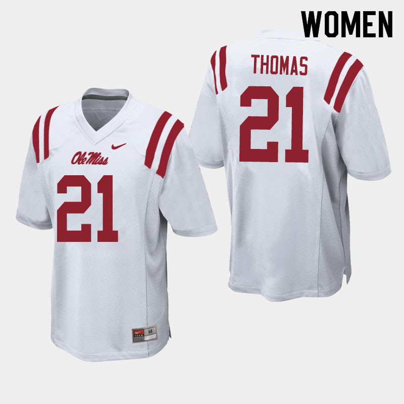 Women #21 Damarcus Thomas Ole Miss Rebels College Football Jerseys Sale-White