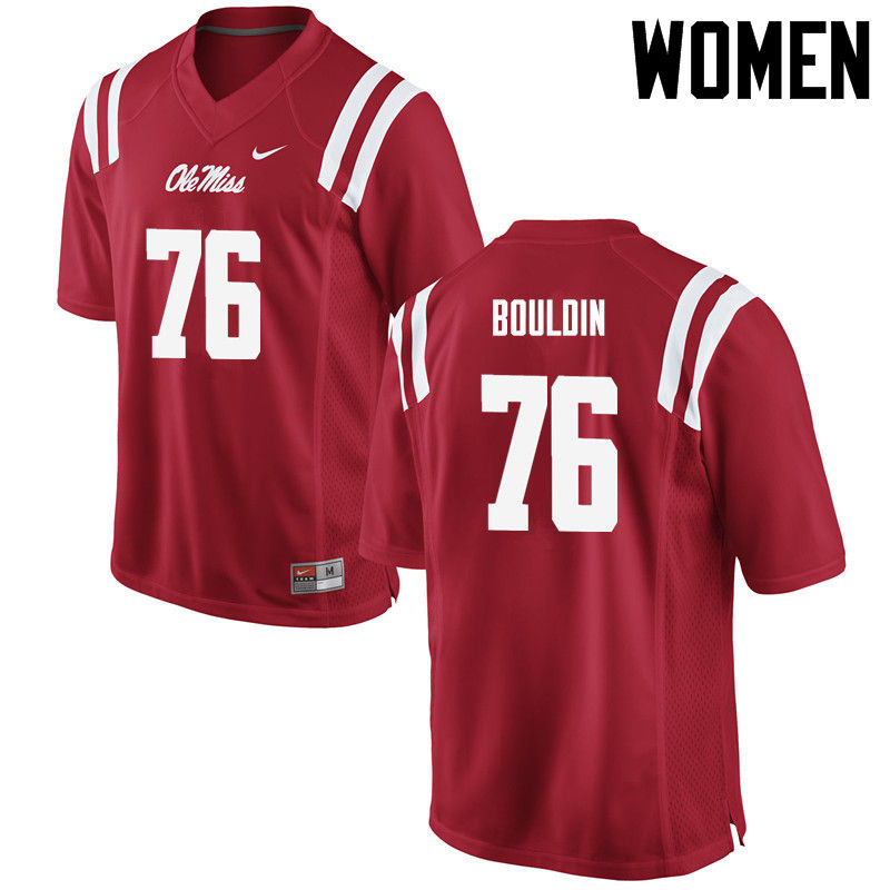 Women Ole Miss Rebels #76 Daronte Bouldin College Football Jerseys-Red
