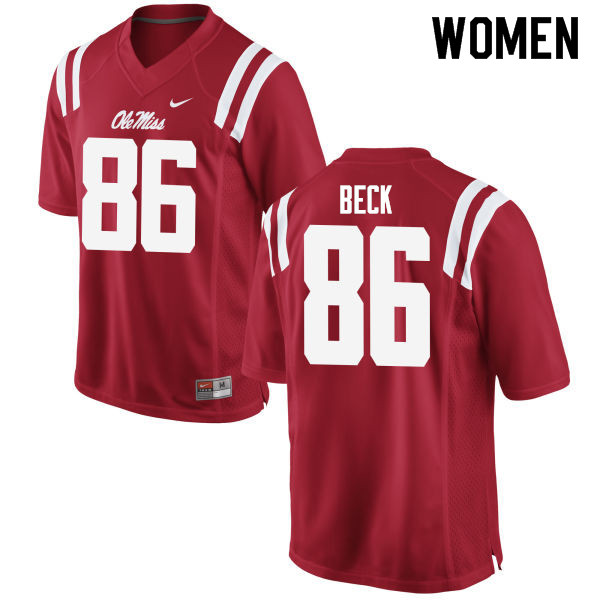 Women #86 Drake Beck Ole Miss Rebels College Football Jerseys Sale-Red