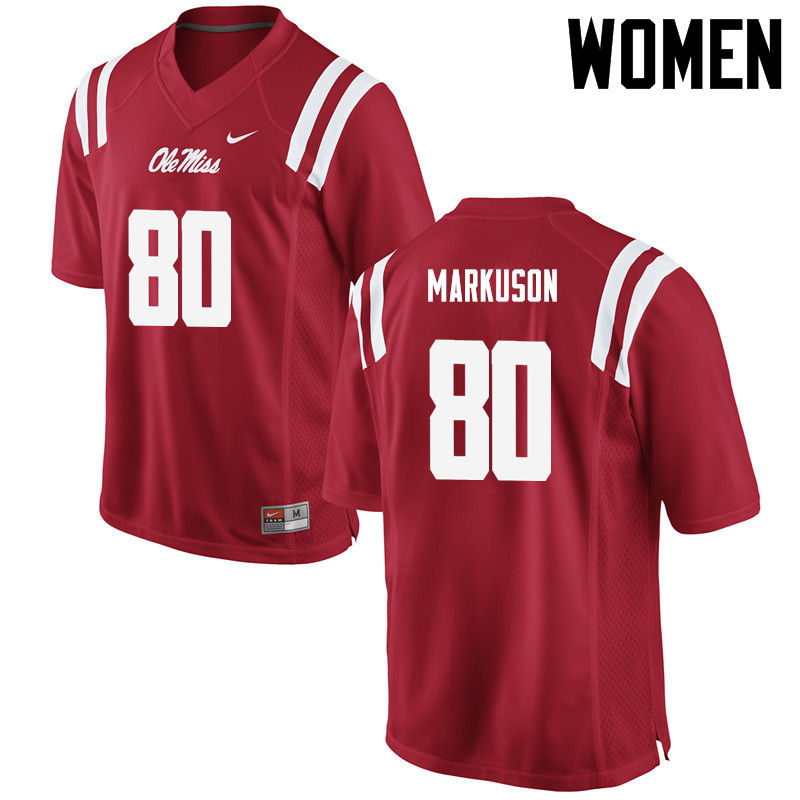 Women Ole Miss Rebels #80 Elliot Markuson College Football Jerseys-Red