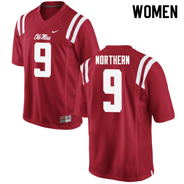 Women #9 Hal Northern Ole Miss Rebels College Football Jerseys Sale-Red