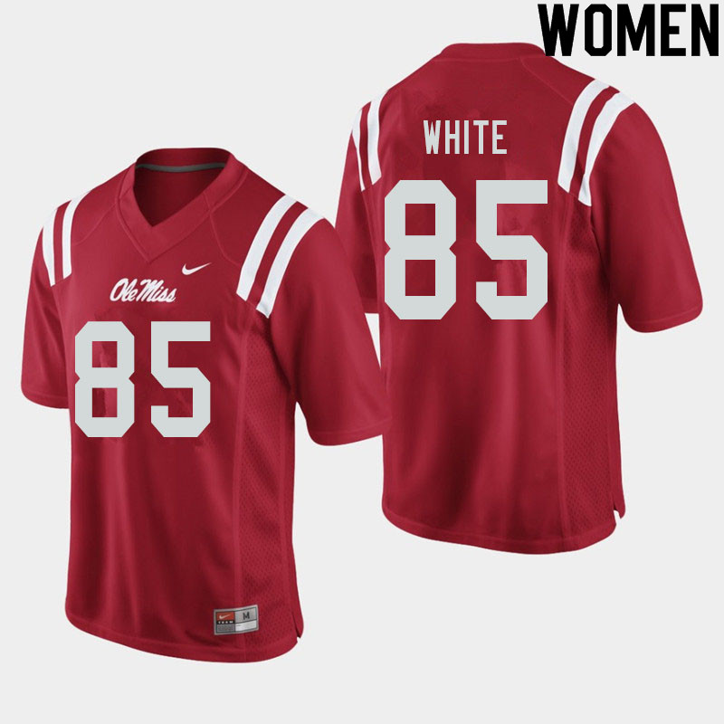 Women #85 Jack White Ole Miss Rebels College Football Jerseys Sale-Red