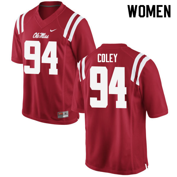 Women #94 James Coley Ole Miss Rebels College Football Jerseys Sale-Red