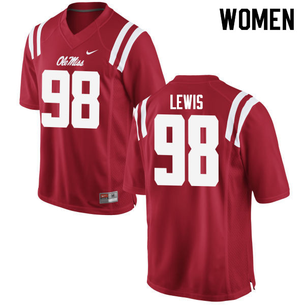Women #98 John Lewis Ole Miss Rebels College Football Jerseys Sale-Red
