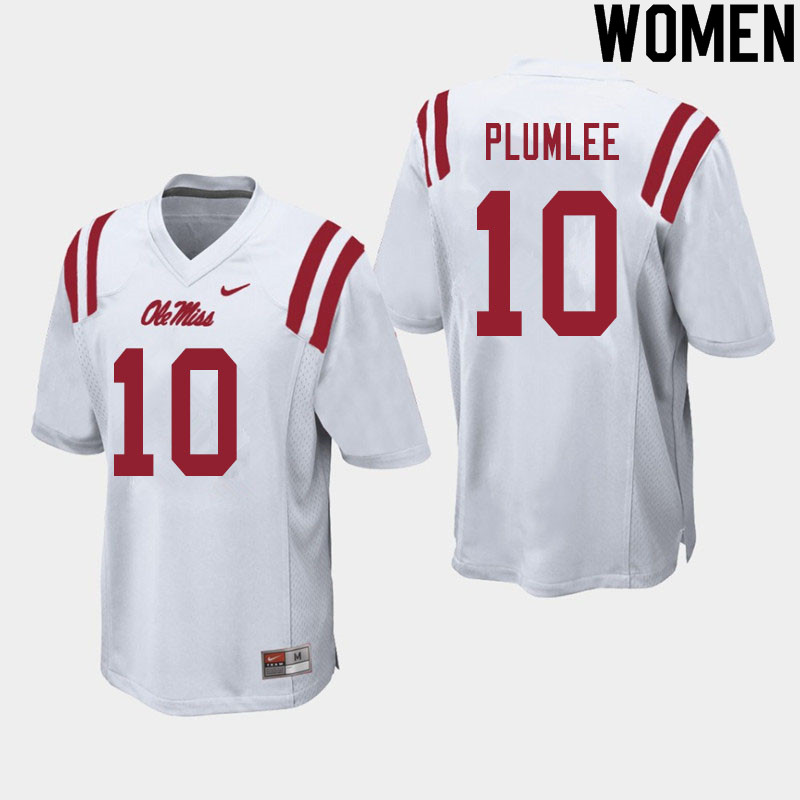 Women #10 John Rhys Plumlee Ole Miss Rebels College Football Jerseys Sale-White