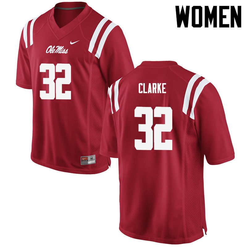 Women Ole Miss Rebels #32 Josh Clarke College Football Jerseys-Red
