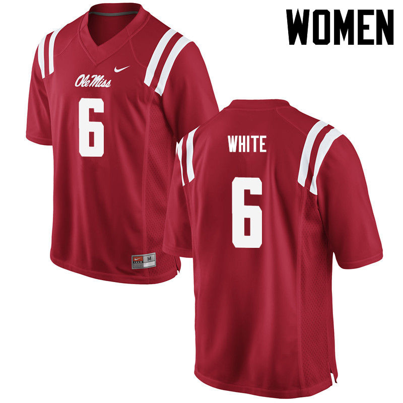 Women Ole Miss Rebels #6 Kam White College Football Jerseys-Red