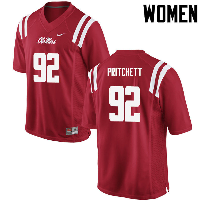 Women Ole Miss Rebels #92 Kelvin Pritchett College Football Jerseys-Red
