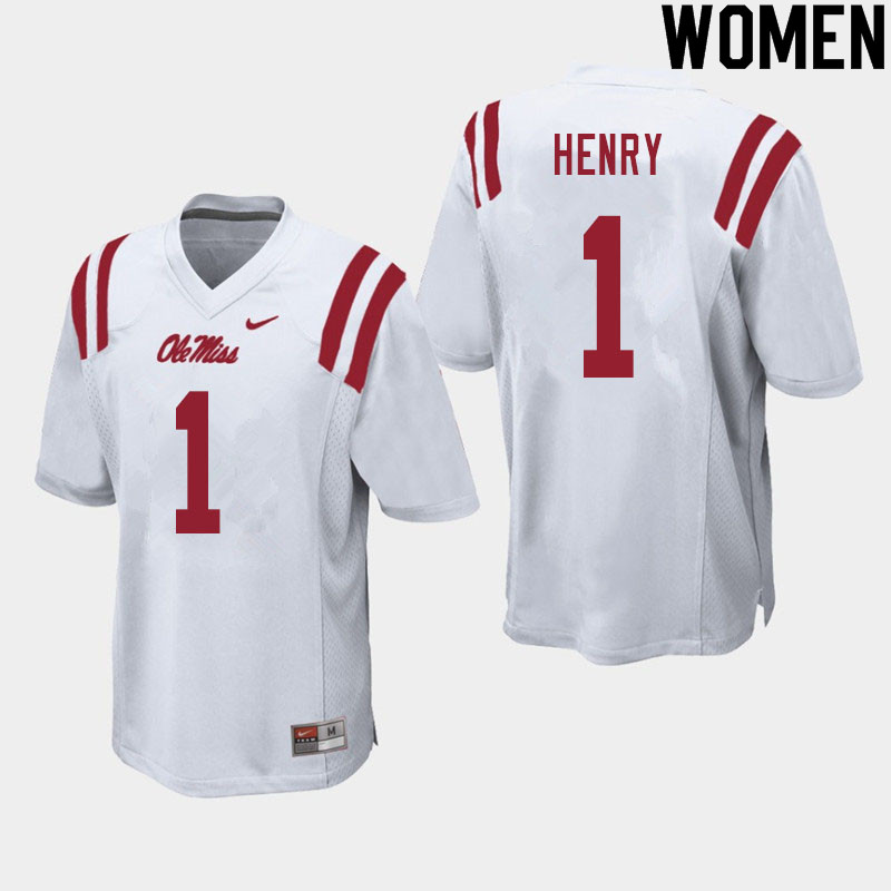 Women #1 Lakia Henry Ole Miss Rebels College Football Jerseys Sale-White