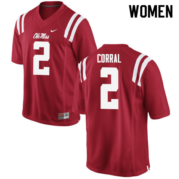 Women #2 Matt Corral Ole Miss Rebels College Football Jerseys Sale-Red