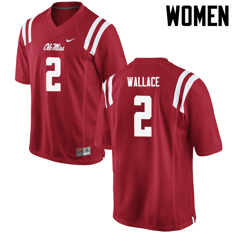 Women Ole Miss Rebels #2 Mike Wallace College Football Jerseys-Red