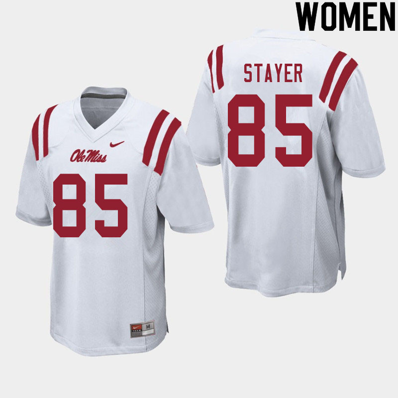 Women #85 Owen Stayer Ole Miss Rebels College Football Jerseys Sale-White