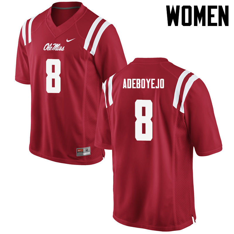 Women Ole Miss Rebels #8 Quincy Adeboyejo College Football Jerseys-Red