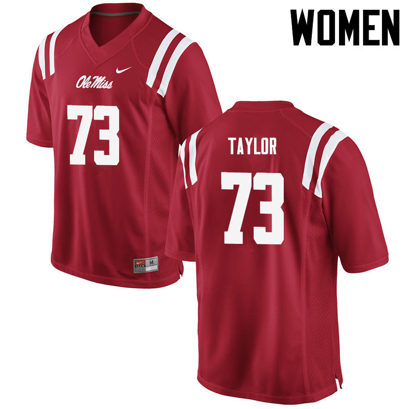 Women Ole Miss Rebels #73 Rod Taylor College Football Jerseys-Red