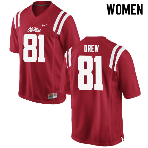 Women #81 Ryan Drew Ole Miss Rebels College Football Jerseys Sale-Red