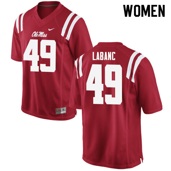 Women #49 Ryan Labanc Ole Miss Rebels College Football Jerseys Sale-Red