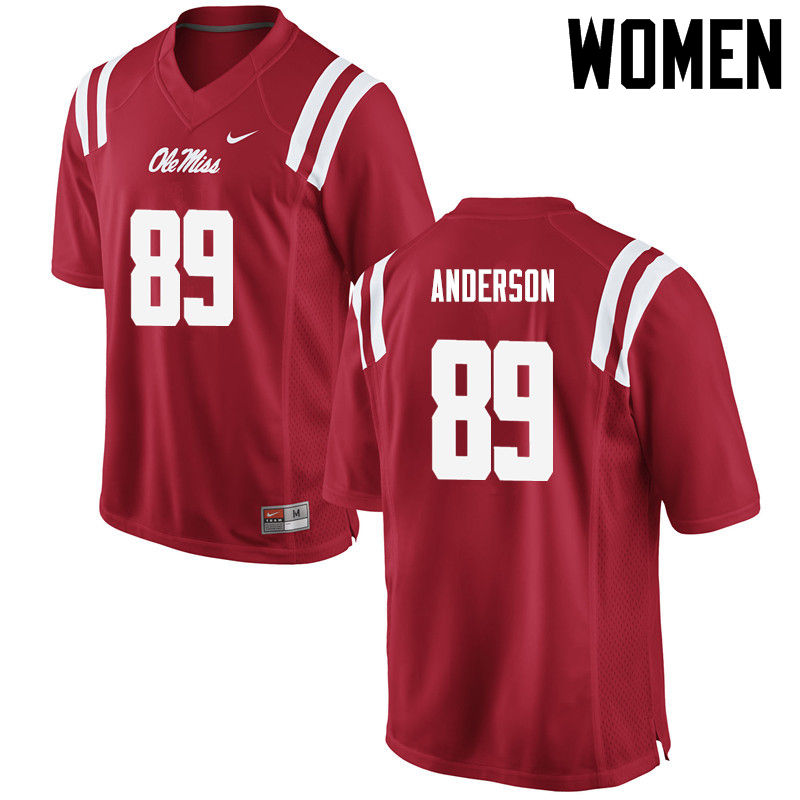 Women Ole Miss Rebels #89 Ryder Anderson College Football Jerseys-Red