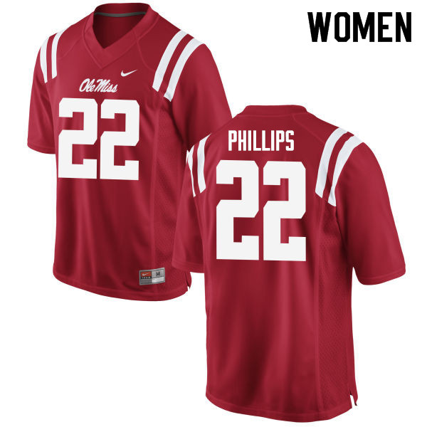 Women #22 Scottie Phillips Ole Miss Rebels College Football Jerseys Sale-Red