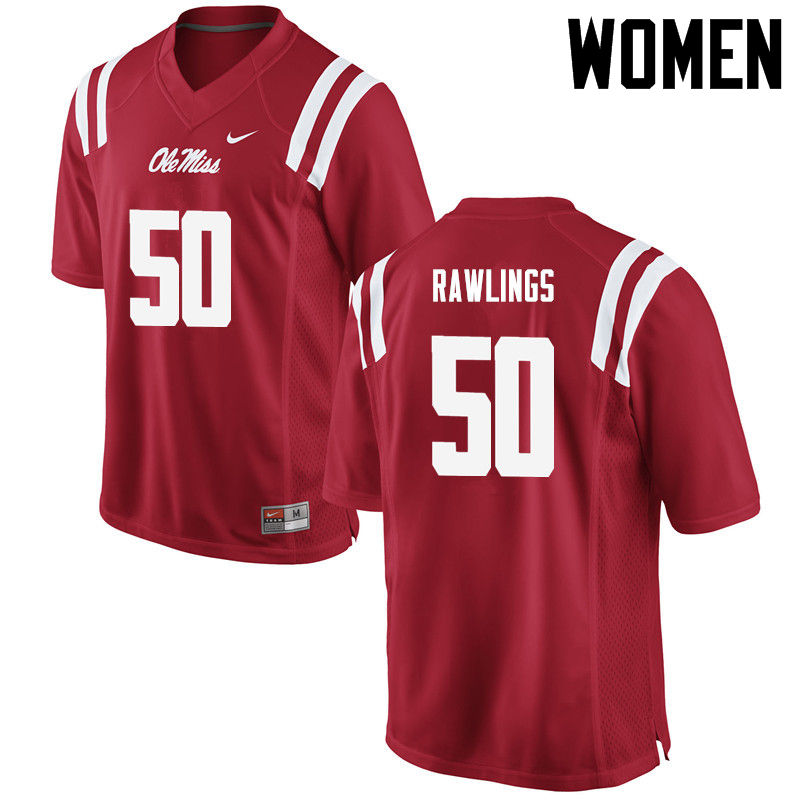 Women Ole Miss Rebels #50 Sean Rawlings College Football Jerseys-Red