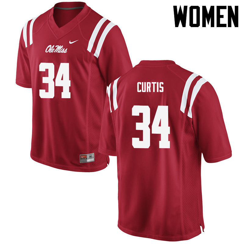 Women Ole Miss Rebels #34 Shawn Curtis College Football Jerseys-Red