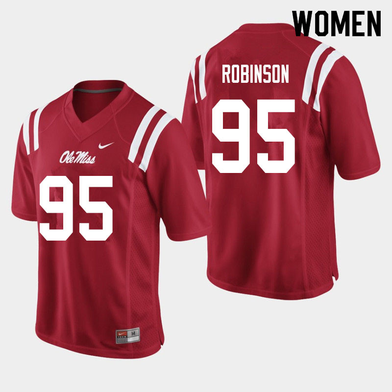 Women #95 Tavius Robinson Ole Miss Rebels College Football Jerseys Sale-Red