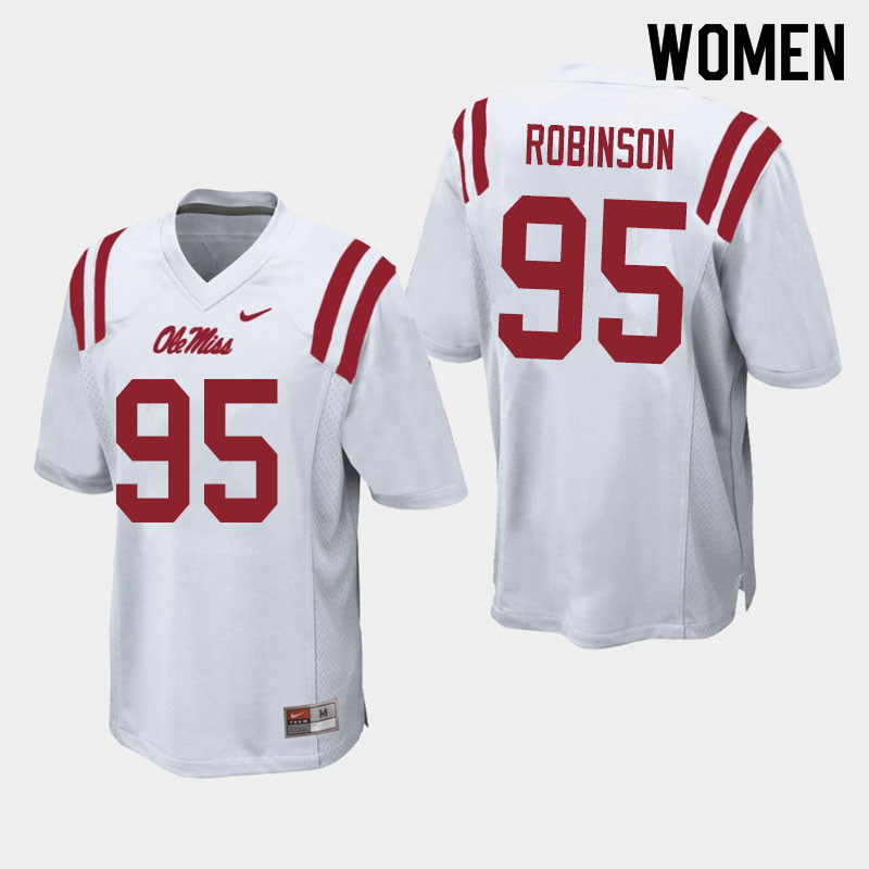 Women #95 Tavius Robinson Ole Miss Rebels College Football Jerseys Sale-White