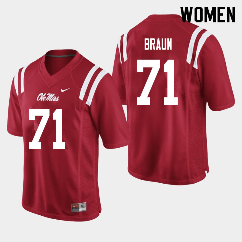 Women #71 Tobias Braun Ole Miss Rebels College Football Jerseys Sale-Red