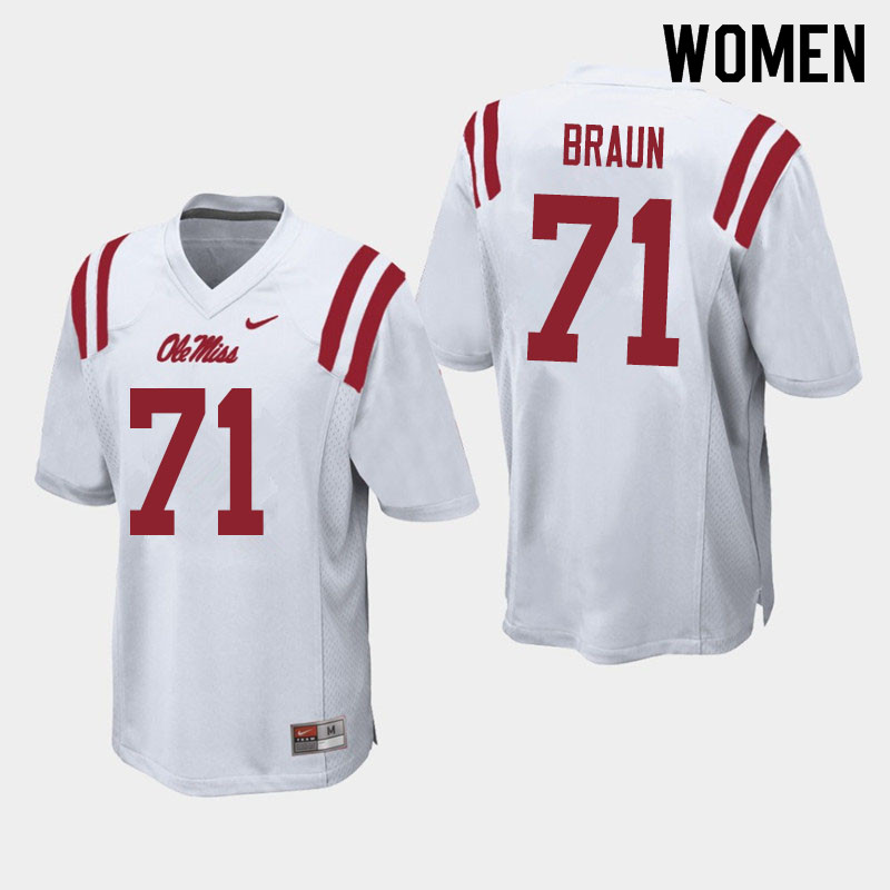 Women #71 Tobias Braun Ole Miss Rebels College Football Jerseys Sale-White