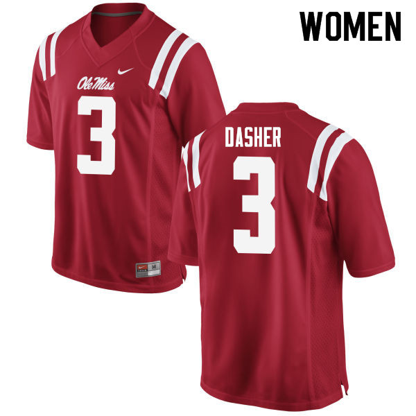 Women #3 Vernon Dasher Ole Miss Rebels College Football Jerseys Sale-Red