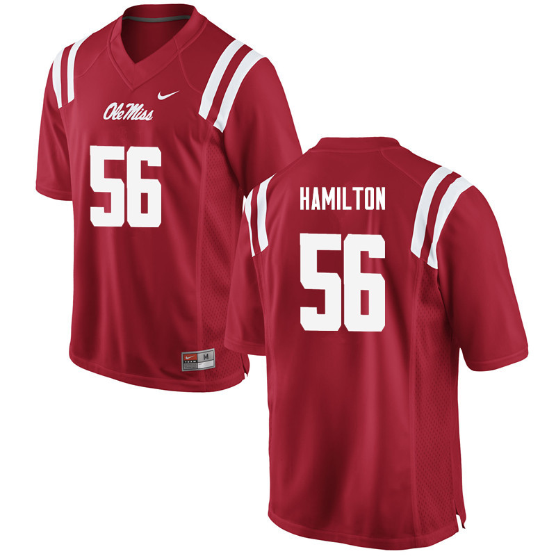 Men Ole Miss Rebels #56 Woodrow Hamilton College Football Jerseys-Red