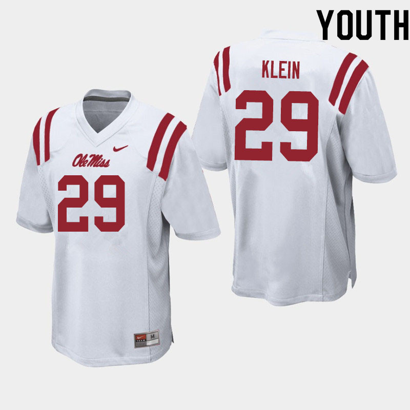 Youth #29 Campbell Klein Ole Miss Rebels College Football Jerseys Sale-White