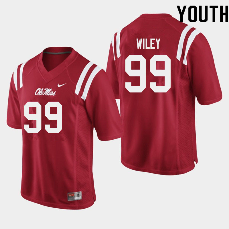 Youth #99 Charles Wiley Ole Miss Rebels College Football Jerseys Sale-Red