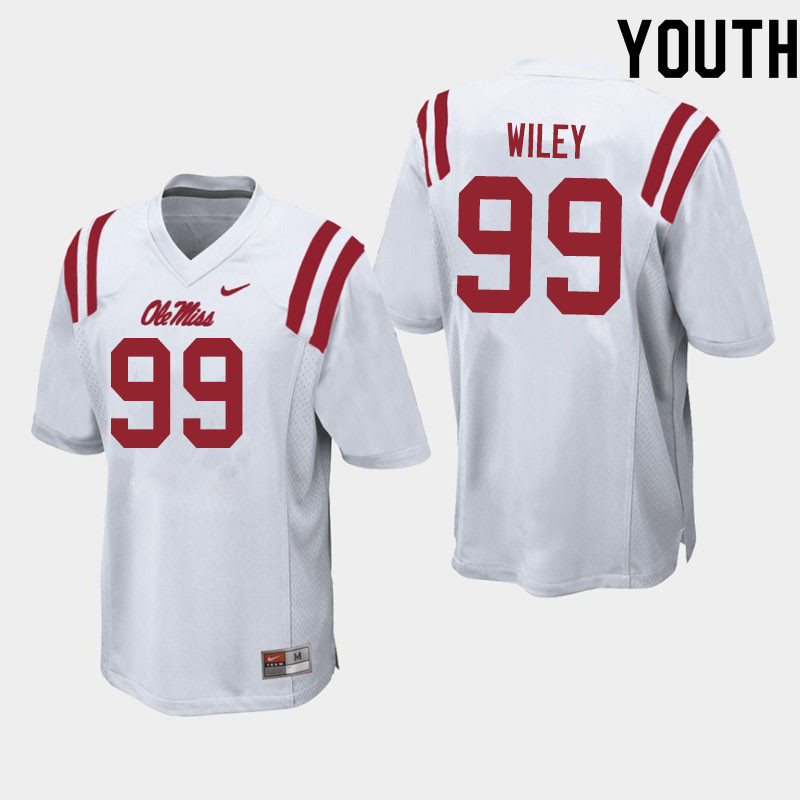 Youth #99 Charles Wiley Ole Miss Rebels College Football Jerseys Sale-White
