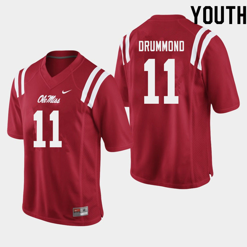 Youth #11 Dontario Drummond Ole Miss Rebels College Football Jerseys Sale-Red