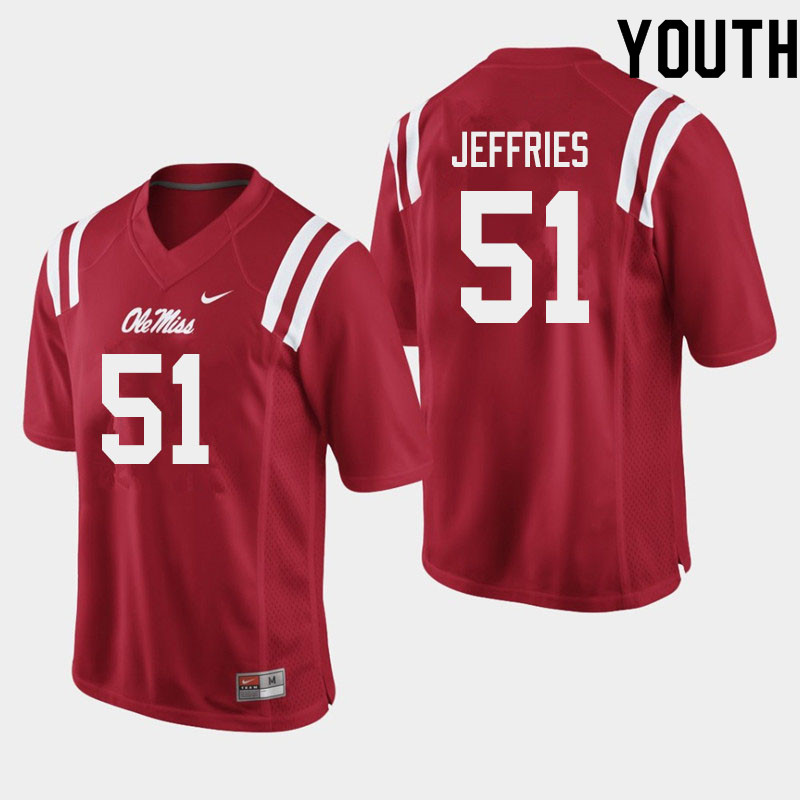 Youth #51 Eric Jeffries Ole Miss Rebels College Football Jerseys Sale-Red