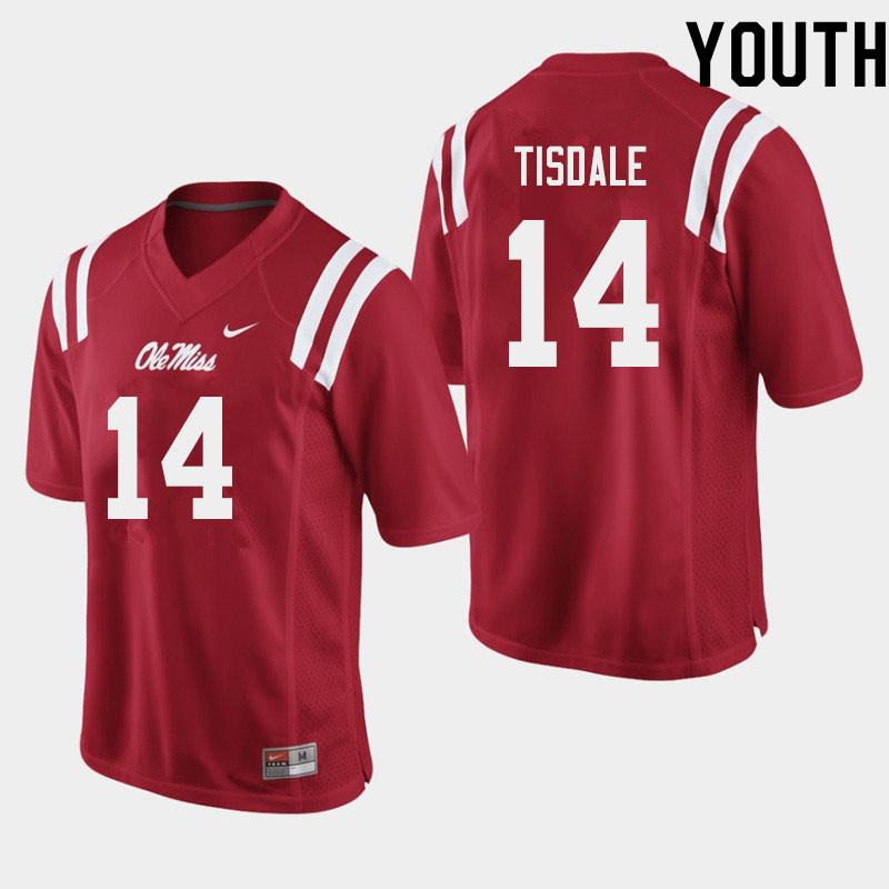 Youth #14 Grant Tisdale Ole Miss Rebels College Football Jerseys Sale-Red