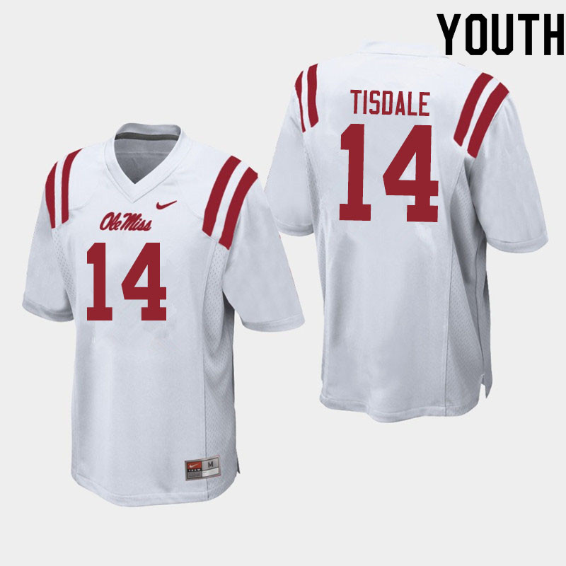 Youth #14 Grant Tisdale Ole Miss Rebels College Football Jerseys Sale-White
