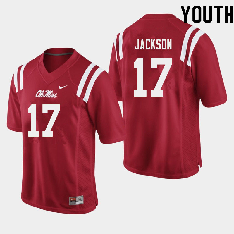 Youth #17 Jadon Jackson Ole Miss Rebels College Football Jerseys Sale-Red