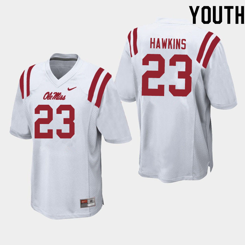 Youth #23 Jakorey Hawkins Ole Miss Rebels College Football Jerseys Sale-White