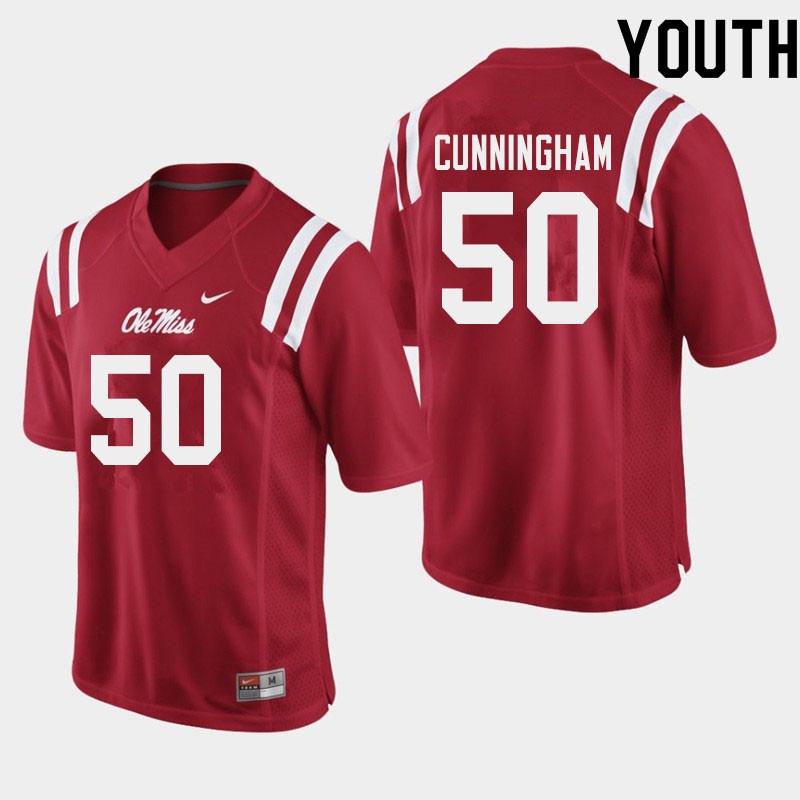 Youth #50 Jalen Cunningham Ole Miss Rebels College Football Jerseys Sale-Red