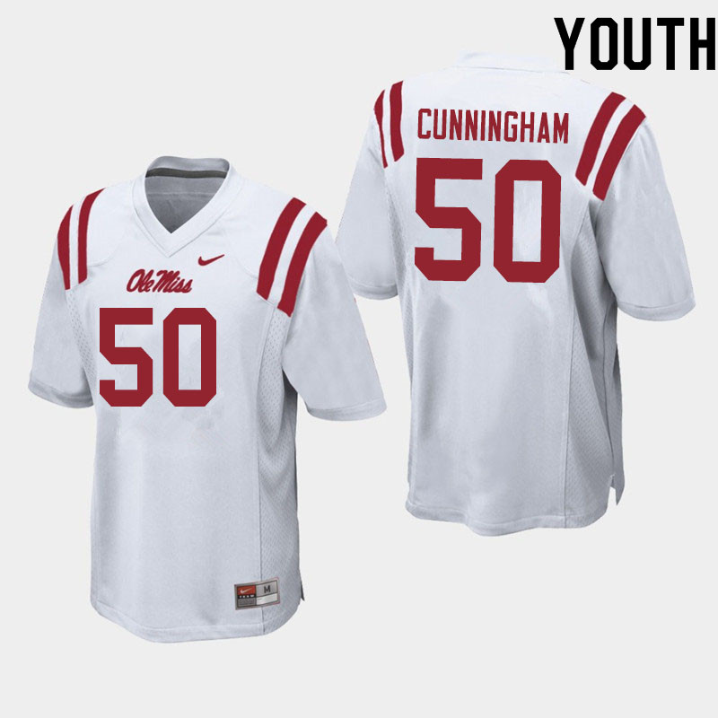 Youth #50 Jalen Cunningham Ole Miss Rebels College Football Jerseys Sale-White