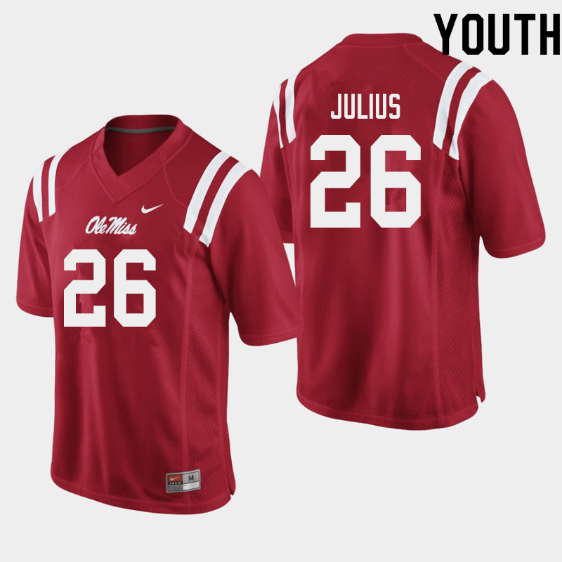 Youth #26 Jalen Julius Ole Miss Rebels College Football Jerseys Sale-Red
